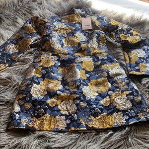 Floral embroidered highneck dress